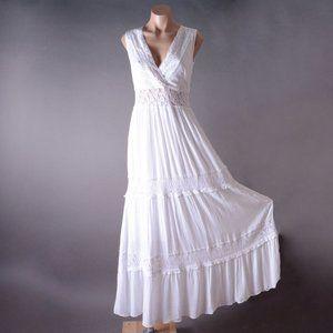 White Cut Out Boho Womens Grecian Crochet Sundress